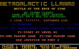 Metagalactic Llamas: Battle at the Edge of Time  Amiga The title screen<br>The letters of 'Metagalactic Llamas' slide in one at a time from the right<br>The blue text scrolls right to left and contains, among other things, high scores.