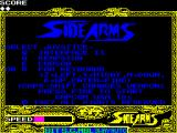 Side Arms Hyper Dyne ZX Spectrum Title menu.