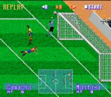 International Superstar Soccer Deluxe Genesis Goalkeeper grazes the ball...