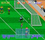 International Superstar Soccer Deluxe Genesis and he scores!! 1-1