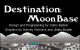 Destination: Moon Base Amiga The title screen<br>The word 'Destination' appears as a lander takes off from the surface and the word 'Moonbase' is painted as the lander crashes to the ground