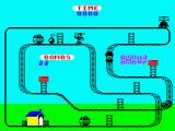 Kong Strikes Back! ZX Spectrum Level 5: Throwing a bomb.<br>