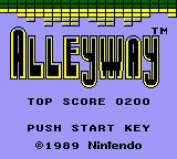 Alleyway Game Boy Title screen on the Game Boy Color. The game also gets a palette assigned, one that is not manually selectable.