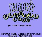Kirby's Pinball Land Game Boy Title screen on Game Boy Color. Another game that get's a palette assigned, and it's another unique one (not selectable by user when turning on the handheld)