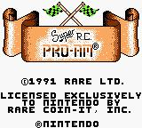 Super R.C. Pro-Am Game Boy Title screen on Game Boy Color. The game is detected and then assigned a palette which is not selectable by a user.