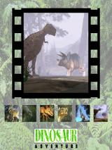 Dinosaur Adventure 3-D Windows Game starts with an opening 3D animation of a T-Rex and Triceratops in battle mode!