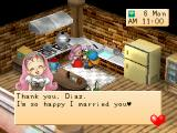 Harvest Moon: Back to Nature PlayStation Giving Pink Cat Flower to Popuri.