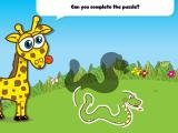 Giraffe's PreSchool Playground 2 iPad Drag the pieces up to thew shadowed area to complete the puzzle