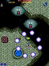 Vimana Arcade Big ones, using a circle bomb, note the weapons power up in upper right corner