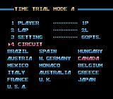 Al Unser Jr. Turbo Racing NES Selecting trial mode settings