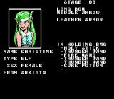 Arkista's Ring NES Press select to see your character information