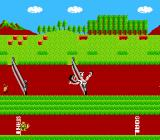 Athletic World NES Player collides with the hurdle