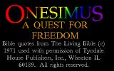Onesimus: A Quest for Freedom DOS Title screen.