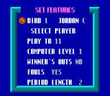 Jordan vs Bird: One on One NES Choosing options for the full one-on-one game