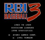 R.B.I. Baseball 3 NES Title screen