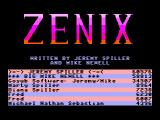 Zenix TRS-80 CoCo Title screen with high scores