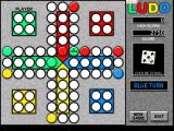 Ludo Windows A game in progress, here the green player has set up a two token block that other player's cannot pass<br>The score shown is the human player's score