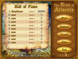 The Rise of Atlantis Windows The game's high score table. <br>The game allows for multiple players, meaning the whole family can play, and when one journey ends another can begin