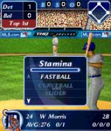 MLB Slam! N-Gage Pitcher is about to throw a ball and player can affect style of the batter and his strength.