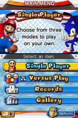 Mario & Sonic at the Olympic Games Nintendo DS Main menu.