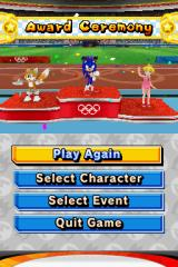 Mario & Sonic at the Olympic Games Nintendo DS The winner circle: first place for Sonic.