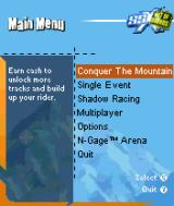 SSX: Out of Bounds N-Gage Main menu.