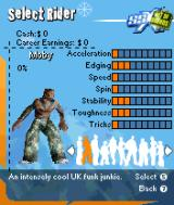SSX: Out of Bounds N-Gage Different riders has different stats.