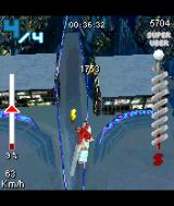 SSX: Out of Bounds N-Gage Flying above the snowed city.