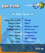 SSX: Out of Bounds N-Gage Various tidbits about riders you choose.