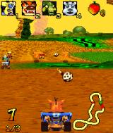 Crash Nitro Kart N-Gage Shooting a cannonball, one of the power-ups lying around the track.