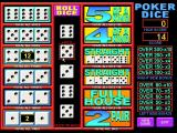 Poker Dice Windows A game in progress<br>The first roll of the dice has taken place. and the player is going to hold the fives and the sixes for a good two pair score and the possibility of a full house
