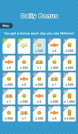 Miitomo Android Daily bonus for logging in. Additional bonuses may be awarded to commemorate global milestones in downloads or usage.