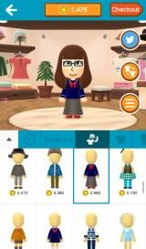 Miitomo Android Trying on clothes in the shop.