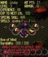 Requiem of Hell N-Gage Inventory screen and some stats.