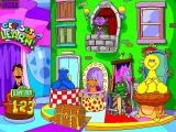 Sesame Street: Kindergarten Windows This is Guy Smiley's game show studio, it is the main menu screen. The player clicks on a character to play their game. On a larger screen the game plays with big black borders