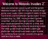 Motorola Invaders 2 Amiga Some background information