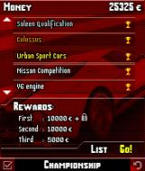 Asphalt: Urban GT N-Gage List of available tournaments.