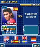 Virtua Tennis N-Gage Player selection in the arcade mode.