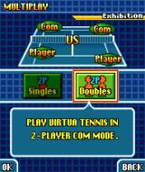 Virtua Tennis N-Gage In multiplayer, it is possible to play two versus two with another human player on your side.