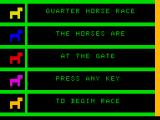Micro Games TRS-80 MC-10 Start screen (Horse Race)