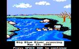 The Oregon Trail DOS The first of many watery obstacles (CGA Color Composite Graphics)