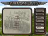 Air Conflicts: Air Battles of World War II Windows The credits menu scrolls the developer names over a vintage photo of some British (?) airmen.