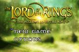 The Lord of the Rings: The Fellowship of the Ring Game Boy Advance Main Menu