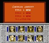 Dragons of Flame NES Main Menu