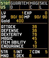 Xanadu Next N-Gage Character screen and their stats.