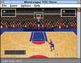 Time Out Sports: Basketball Windows 3.x Throwing the ball in Horse game, 'H's are already collected