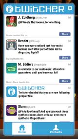 Futurama: Game of Drones iPhone Twitcher is a parody of twitter where the game characters share jokes.