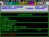 SimCity ZX Spectrum Disasters, one of the menus