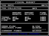 SimCity ZX Spectrum The budget screen