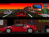 Lotus Esprit Turbo Challenge Amiga Spain, driving at the sunset